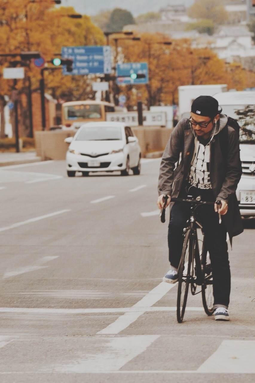 自転車・チャリファッションメンズコーディネート