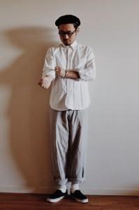 メンズベレー帽 コーディネート 白シャツ