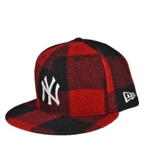ニューエラ 5950 バッファローチェック柄キャップ・ニューヨークヤンキース・レッド/NEW ERA