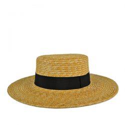 ワイドブリム・ストローボーターハット(広つばカンカン帽)