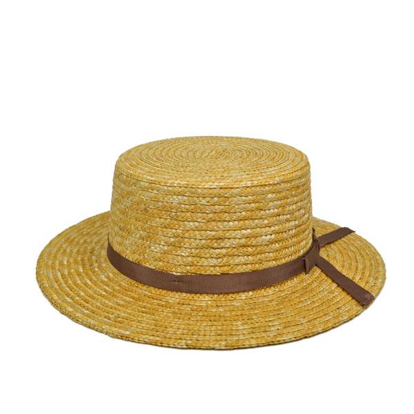 天然麦わら・リボンボーターハット・カンカン帽